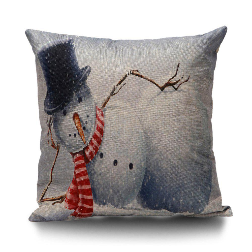 Snowman Printed Throw Pillow CoverHOME<br><br>Size: 45*45CM; Color: GREY WHITE; Material: Linen; Pattern: Printed; Style: Trendy; Shape: Square; Weight: 0.1000kg; Package Contents: 1 x Pillow Case;