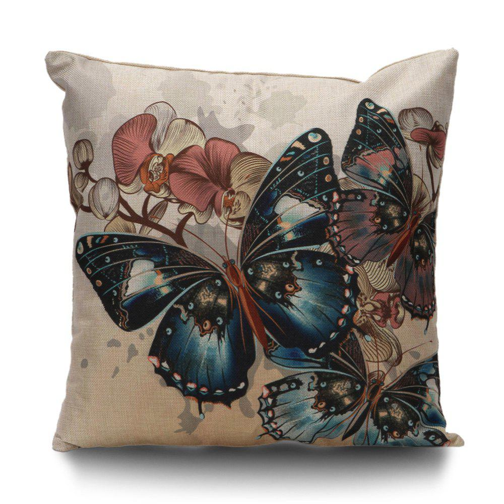 Butterfly Print Throw Linen Pillow CoverHOME<br><br>Size: 45*45CM; Color: COLORMIX; Material: Linen; Pattern: Printed; Style: Vintage; Shape: Square; Weight: 0.1000kg; Package Contents: 1 x Pillow Case;