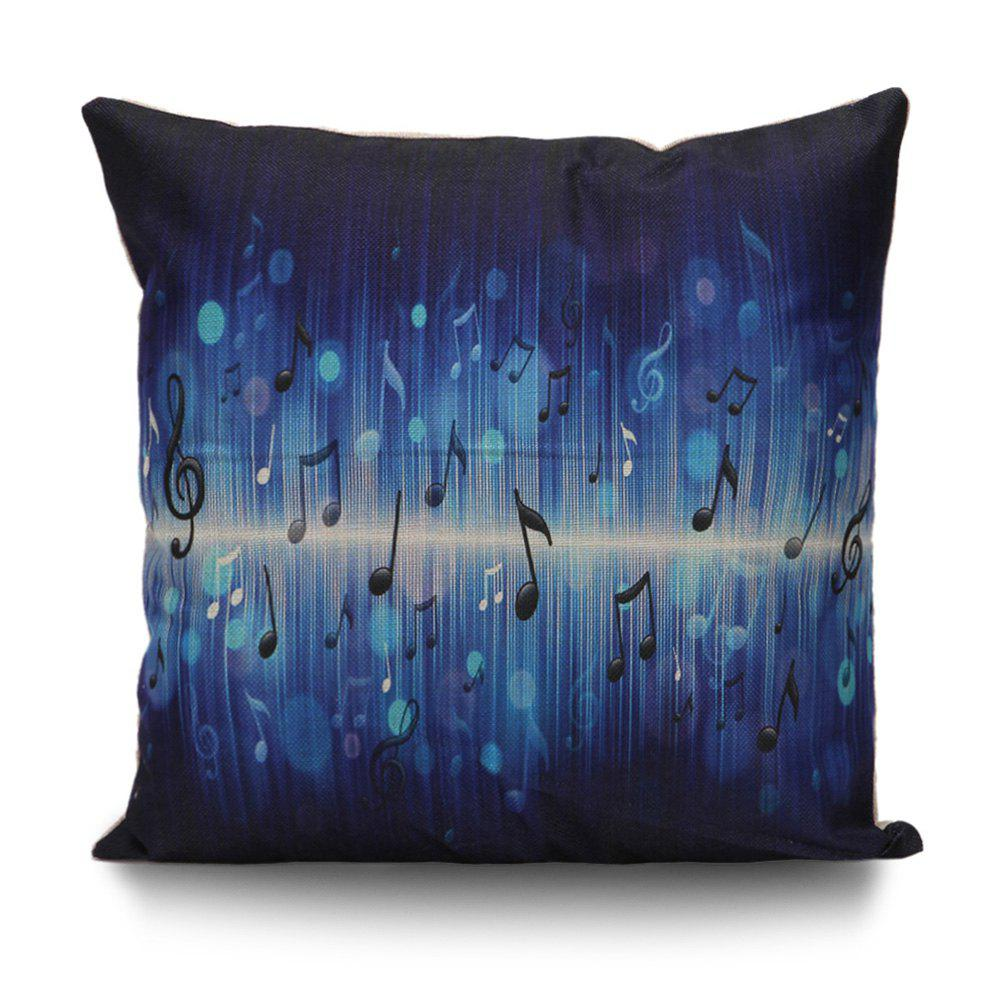 Music Notes Cushion Cover Pillow CaseHOME<br><br>Size: 55*55CM; Color: DEEP BLUE; Material: Linen; Pattern: Printed; Style: Trendy; Shape: Square; Weight: 0.1000kg; Package Contents: 1 x Pillow Case;