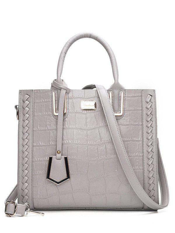 Textured Leather Weave Tote BagSHOES &amp; BAGS<br><br>Color: GRAY; Handbag Type: Totes; Style: Fashion; Gender: For Women; Pattern Type: Solid; Handbag Size: Small(20-30cm); Closure Type: Zipper; Interior: Cell Phone Pocket,Interior Zipper Pocket; Occasion: Versatile; Main Material: PU; Weight: 0.6500kg; Size(CM)(L*W*H): 30*15*26; Package Contents: 1 x Tote Bag;
