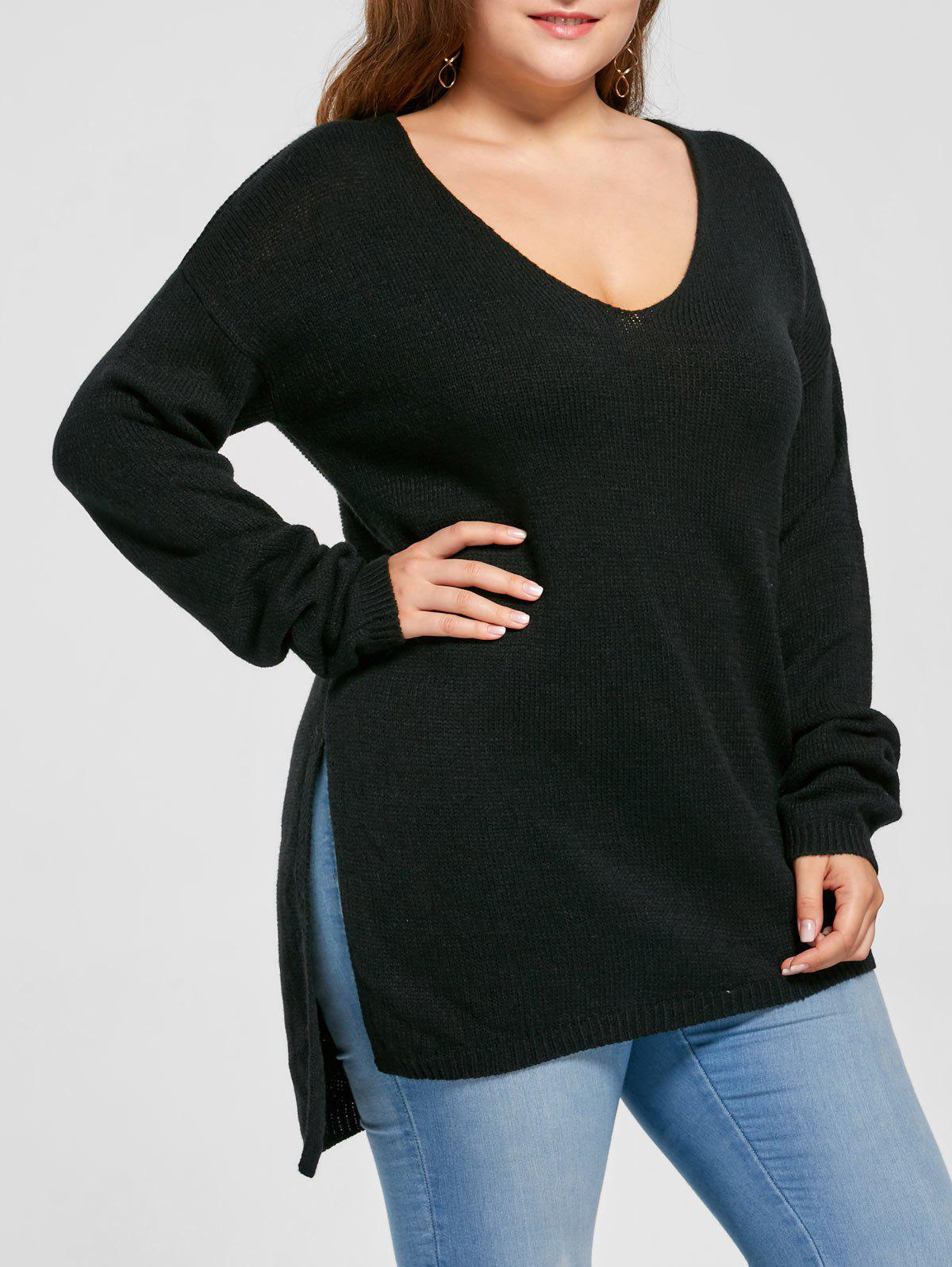 Plus Size Side Slit V Neck Asymmetric SweaterWOMEN<br><br>Size: 5XL; Color: BLACK; Type: Pullovers; Material: Acrylic; Sleeve Length: Full; Collar: V-Neck; Style: Casual; Season: Fall,Spring; Pattern Type: Solid; Weight: 0.4000kg; Package Contents: 1 x Sweater;