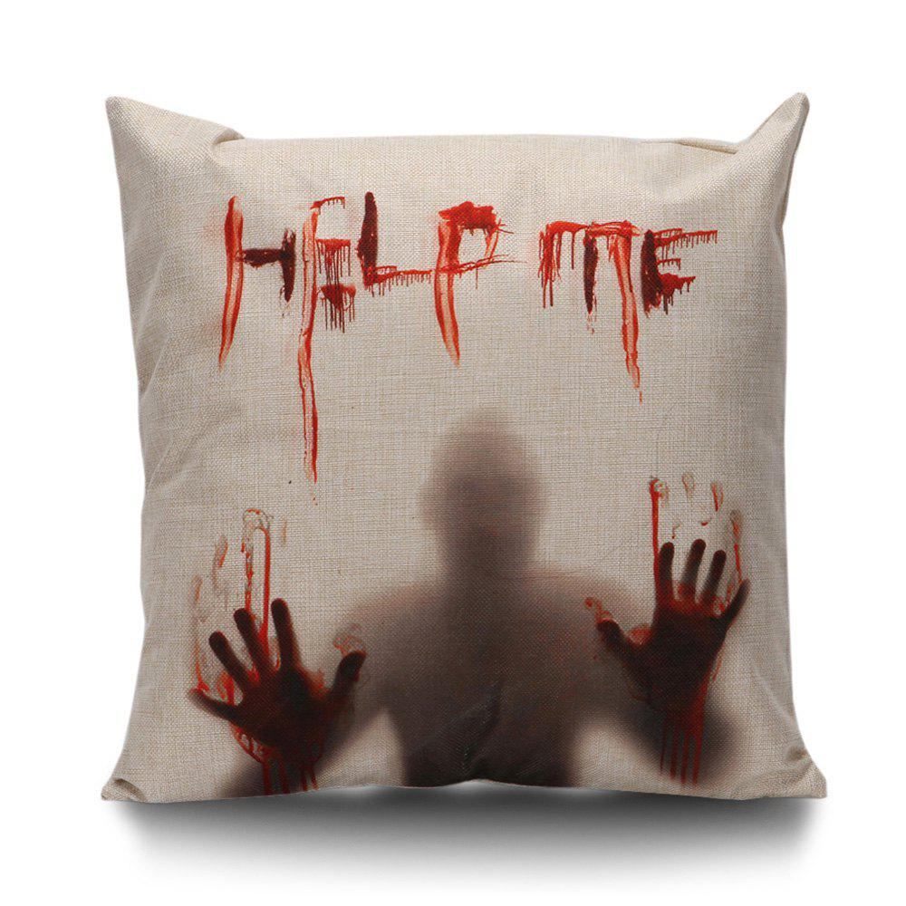 Halloween Bloody Shadow Print Pillow CaseHOME<br><br>Size: 45*45CM; Color: BEIGE; Material: Linen; Pattern: Printed; Style: Halloween; Shape: Square; Weight: 0.1000kg; Package Contents: 1 x Pillow Case;