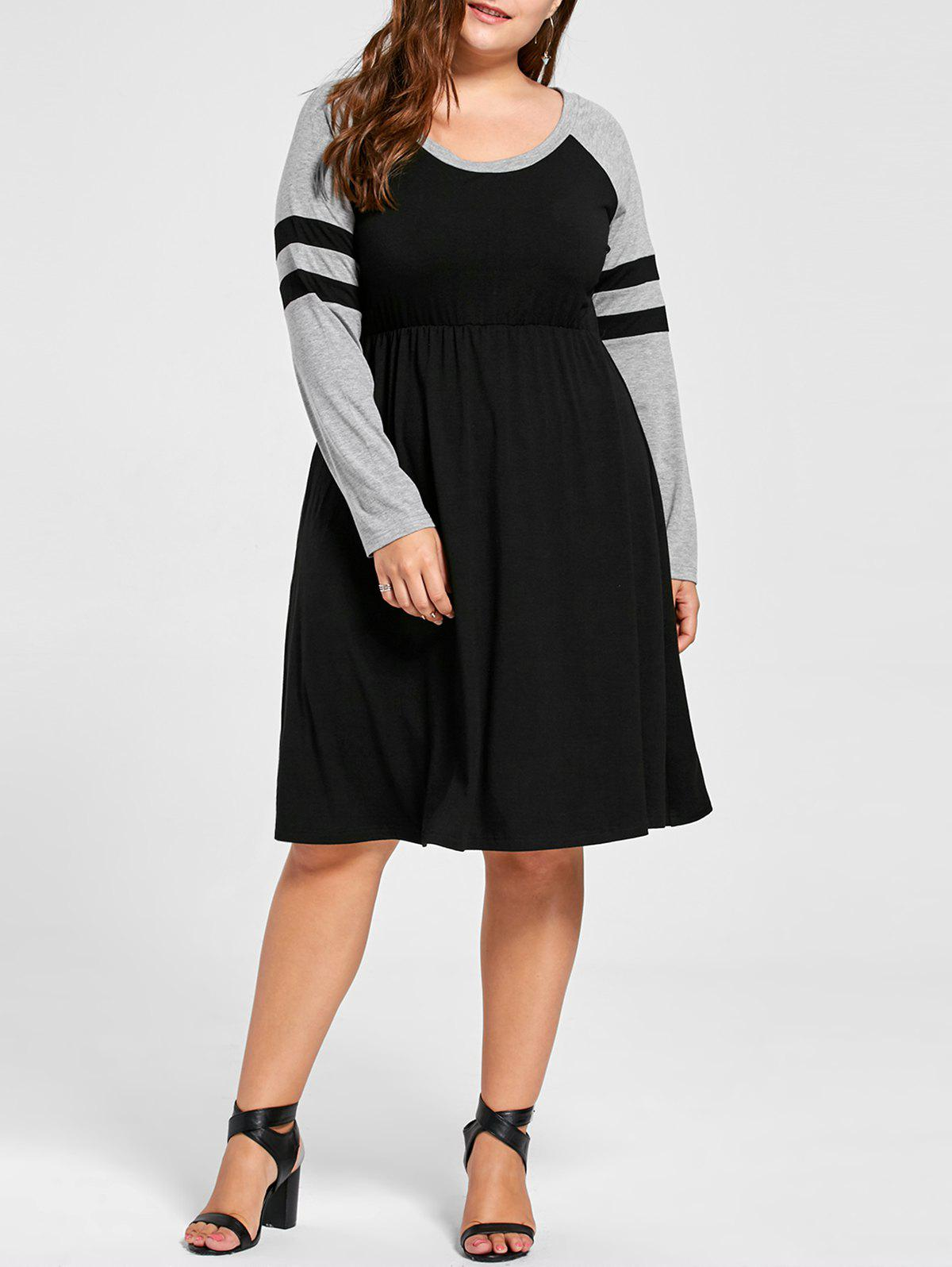 Plus Size Long Sleeve Tee DressWOMEN<br><br>Size: 5XL; Color: BLACK; Style: Casual; Material: Polyester,Spandex; Silhouette: A-Line; Dresses Length: Knee-Length; Neckline: Scoop Neck; Sleeve Length: Long Sleeves; Pattern Type: Striped; With Belt: No; Season: Fall,Spring,Summer; Weight: 0.4000kg; Package Contents: 1 x Dress;