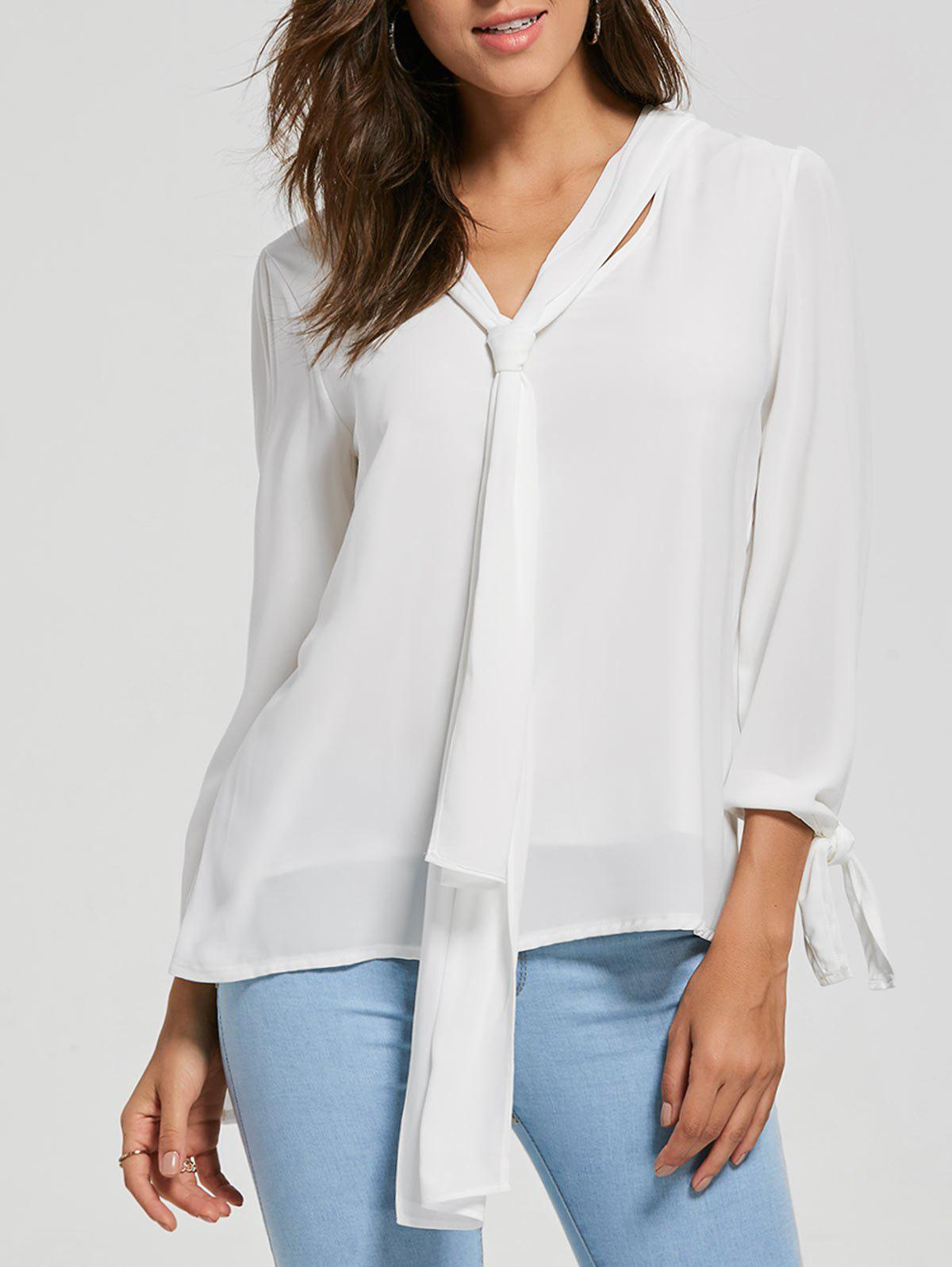 Cheap Chiffon Blouse with Optional Tie