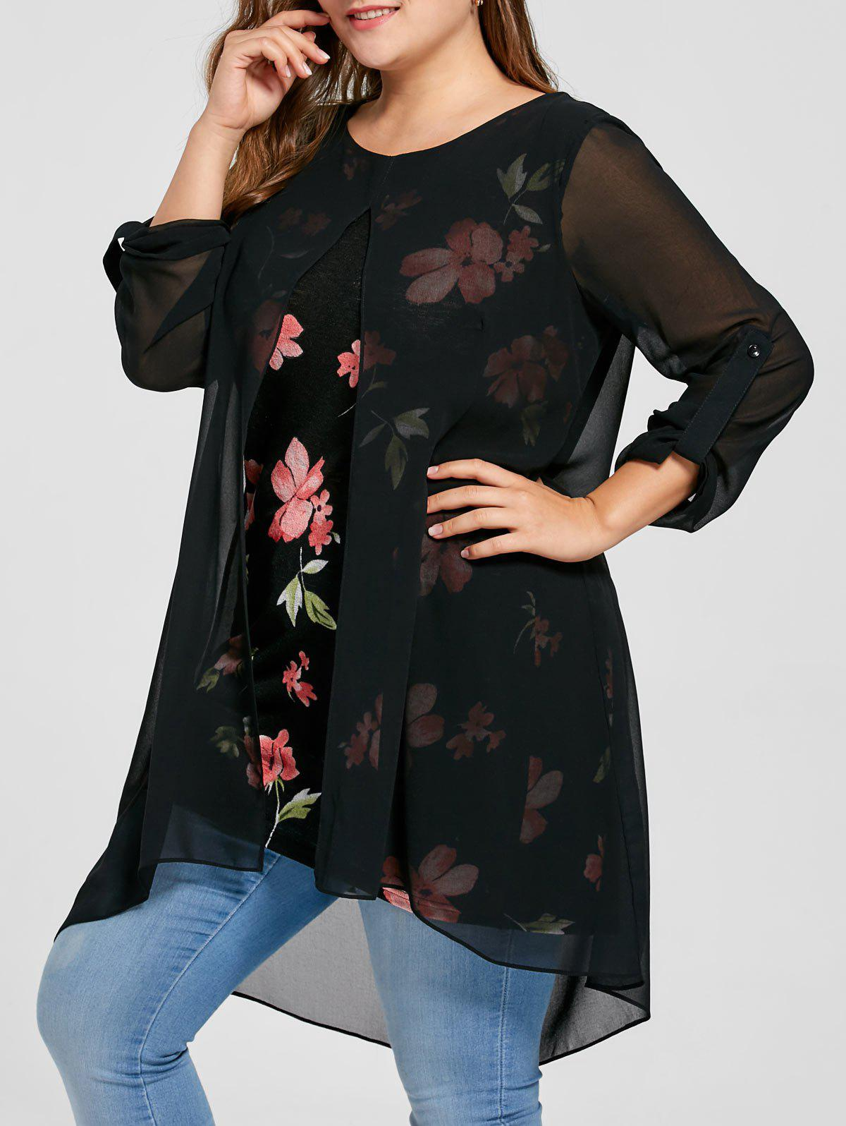 Plus Size Front Slit Floral Longline BlouseWOMEN<br><br>Size: 4XL; Color: BLACK; Material: Polyester; Shirt Length: Long; Sleeve Length: Full; Collar: Round Neck; Style: Fashion; Season: Fall,Spring,Summer; Pattern Type: Floral; Weight: 0.3000kg; Package Contents: 1 x Blouse;