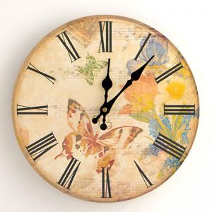 Flower Butterfly Wood Round Analog Wall Clock