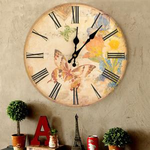 Flower Butterfly Wood Round Analog Wall Clock - GINGER 30*30CM