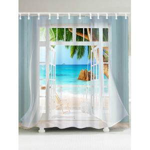 False Window Coconut Tree Printed Shower Curtain - Blue - W79 Inch * L71 Inch