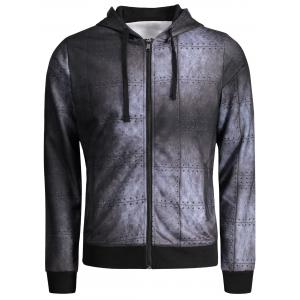 Zip Up Iron Wall Print Hoodie