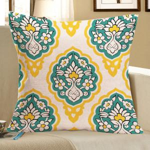 Flowers Geometry Printed Linen Square Pillow Case