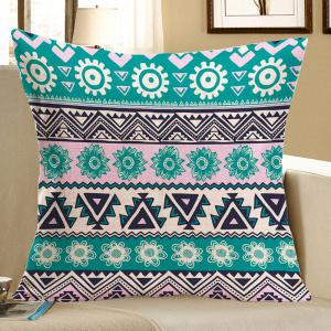 Colorful Geometric Pattern Linen Square Pillow Case - Colorful - W18 Inch * L18 Inch