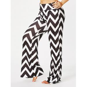 Zigzag Print Plus Size Palazzo Pants - Black Stripe - 3xl