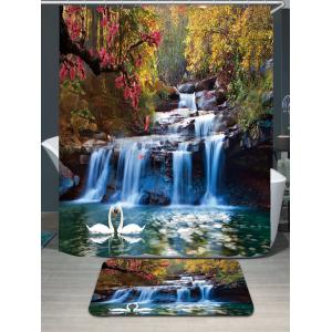 Swans Flowers Cascade Waterproof Rug Shower Curtain Set - Colorful - W79 Inch * L71 Inch