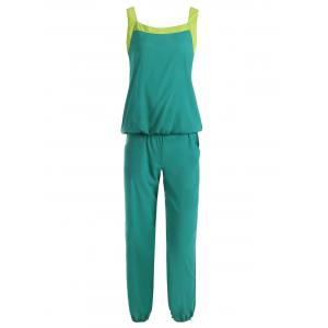 Stylish Scoop Neck Color Block Tank Top and Drawstring Chiffon Pants Suit For Women