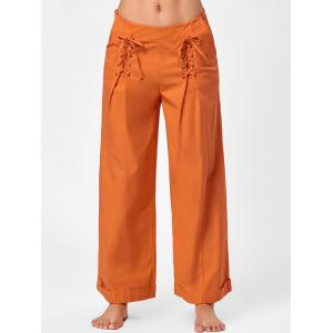 Loose Lace Up Wide Leg Pants