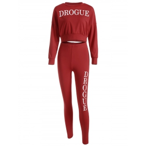 Drogue Print Crop Sweatshirt and Skinny Pants - Red - S