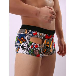 Convex Pouch Cartoon Print Hollow Trunk - GRAY L
