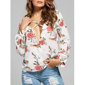 Flower Print Plunging Neckline Long Sleeve Blouse