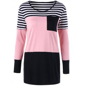 Patch Pocket Slim Striped Tunic Top