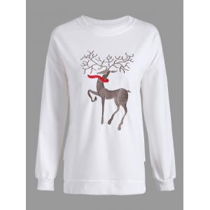 Christmas Reindeer Embroidery Drop Shoulder Sweatshirt