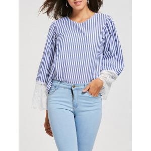 Lace Panel Striped Crew Neck Blouse