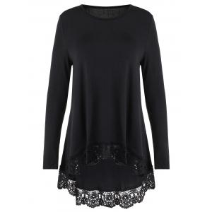 Lace Trim High Low Long Sleeve T-shirt