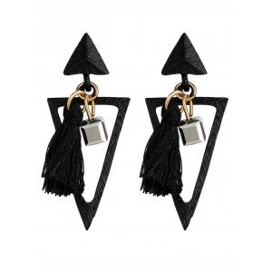 Metal Triangle Tassel Bohemian Earrings - Black