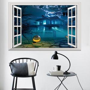 3D Window Halloween Gruesome Castle Wall Sticker -