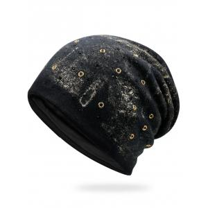 Round Rivet Embellished Beanie - Golden - 37