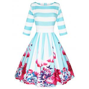 Flamingo Flower Print Striped Bowknot Dress