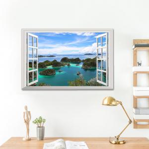 Island View Faux Window 3D Wall Sticker