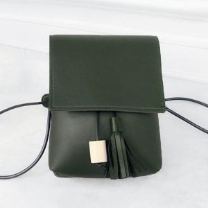 Tassel PU Leather Cross Body Bag - Green