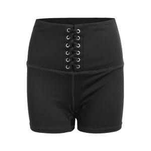 Active High Waisted Lace Up Shorts -