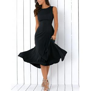 A Line Sleeveless Semi Formal Prom Dress - Black - M
