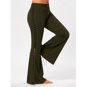 Criss Cross Lace Up Side Flare Pants - Army Green - S