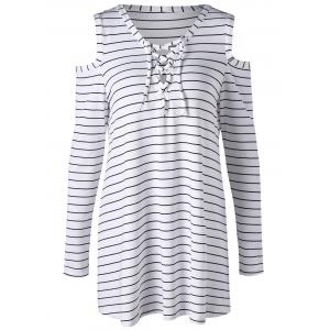 Cold Shoulder Striped Lace Up Top