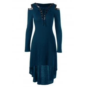 Hooded Lace Up Cold Shoulder Dress - Peacock Blue - 2xl
