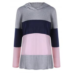 Plus Size Hooded Color Lump Long Sleeve Top