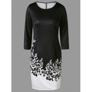 Two Tone Printed Sheath Dress with Sleeves - White And Black - M