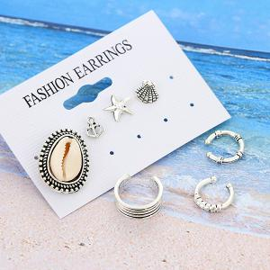 Sandbeach Shell Anchor Starfish Earring Set
