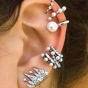 Rhinestone Faux Pearl Cartilage Ear Cuff Set