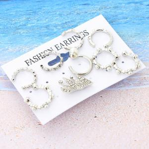 Rhinestone Faux Pearl Cartilage Ear Cuff Set -