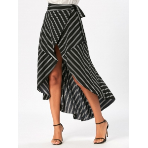 Stripe Print High Low Maxi Wrap Skirt