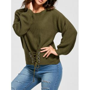 Boat Neck Lace-up Long Sleeve Sweater - Army Green - One Size