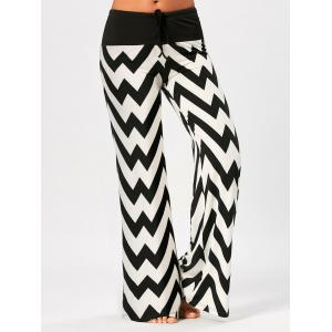 Zigzag Print Drawstring Palazzo Pants - White And Black - 2xl