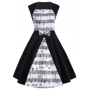 Musical Notes Print Sleeveless Vintage Dress - White And Black - L