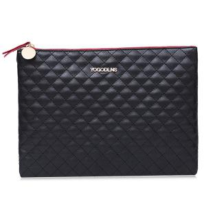 Faux Leather Quilted Clutch Bag - Black