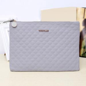 Faux Leather Quilted Clutch Bag - GREY WHITE