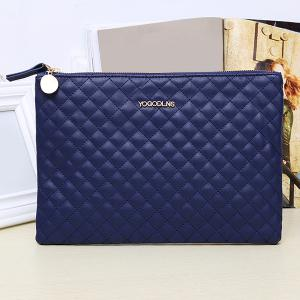 Faux Leather Quilted Clutch Bag - BLUE