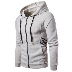 Graphic Raglan Sleeve Fleece Zip Up Hoodie